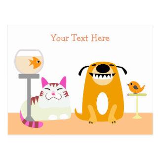 Haustier-sitzende Geschäfts-Postkarte Postkarte