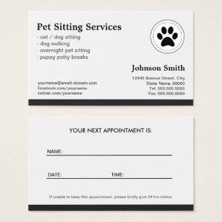 Haustier-sitzende Haustierpflege - Verabredung Visitenkarte