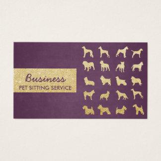 Haustier-Sorgfalt-modernes Lila u. Gold verfolgt Visitenkarte