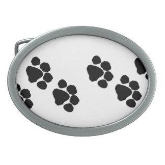 Haustier-Tatzen-Drucke Ovale Gürtelschnallen