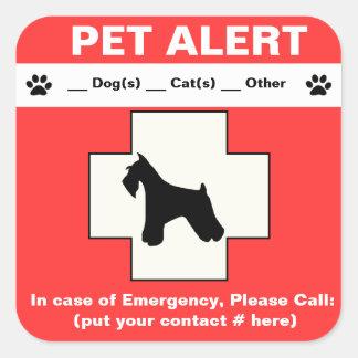 Haustier-wachsamer Notfall Quadratischer Aufkleber