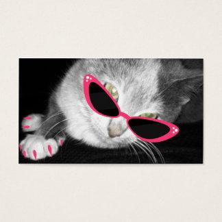 Haustier-Wellness-Center-Salon - Katze mit rosa Visitenkarte