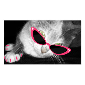 Haustier-Wellness-Center-Salon - Katze mit rosa Visitenkarten