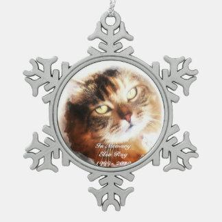 Haustierdenkmal addieren Ihre Fotoverzierung Schneeflocken Zinn-Ornament