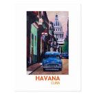 Havana in Kuba - EL Capitolo mit Oldtimer Postkarte