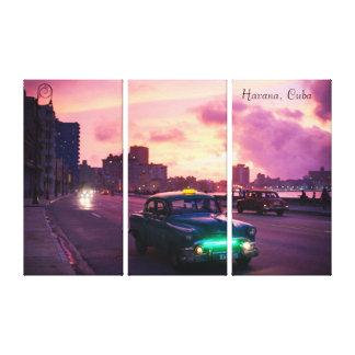 Havana Kuba am Sonnenuntergang mit Vintagen Leinwanddruck