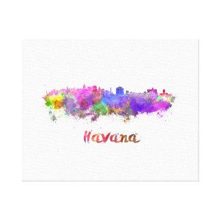 Havana skyline im Watercolor Leinwanddruck