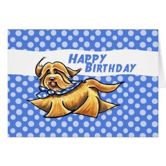 Havanese blauer Tupfen-Geburtstag Karte