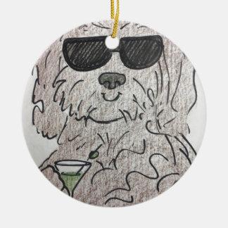 Havanese Hund Martini Rundes Keramik Ornament