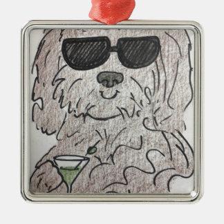 Havanese Hund Martini Silbernes Ornament