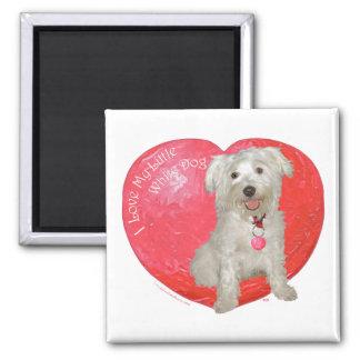 Havanese/Westie Mischungs-Valentinstag Quadratischer Magnet