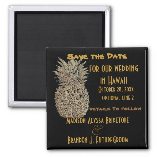 Hawaii-Ananas Save the Date Magnete