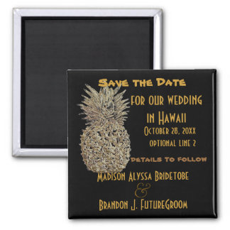 Hawaii-Ananas Save the Date Quadratischer Magnet