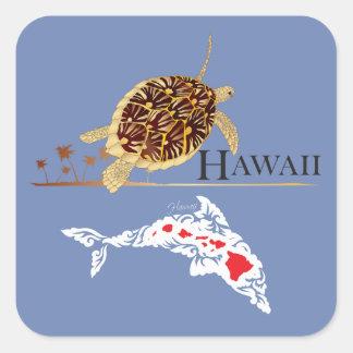 Hawaii-Delphin-Schildkröte Quadratischer Aufkleber