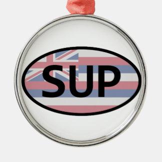Hawaii-Flaggen-Standup Schaufeln Silbernes Ornament