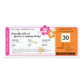 Hawaii-Geburtstags-Boarding-Durchlauf 10,2 X 23,5 Cm Einladungskarte