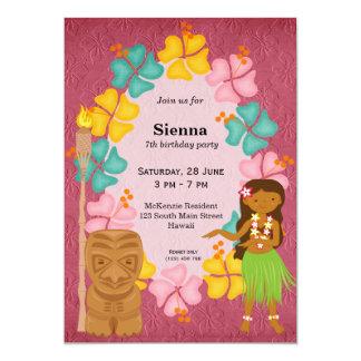 Hawaii-Geburtstagsmädchen 12,7 X 17,8 Cm Einladungskarte