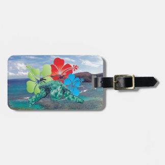 Hawaii-Hibiskus-Blumen und Schildkröte Kofferanhänger