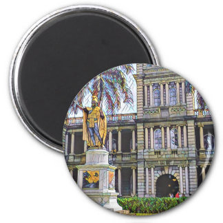 Hawaii-König Kamehameha Modern Runder Magnet 5,7 Cm