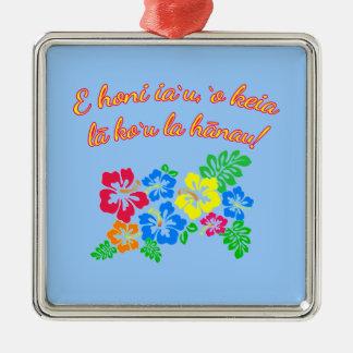 HAWAII küssen mich, den es mein Geburtstag auf Quadratisches Silberfarbenes Ornament