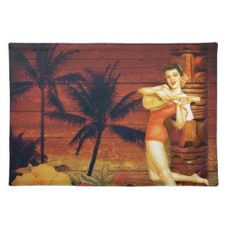 Hawaii-Mädchen-Palme-Totempfosten-BlumenHibiskus Stofftischset