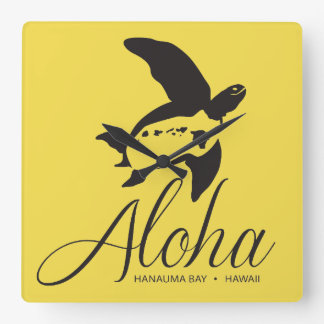 Hawaii-Schildkröte Aloha Quadratische Wanduhr