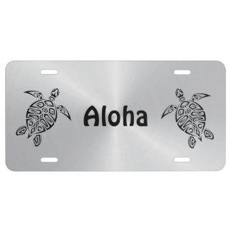 Hawaii-Schildkröte-Aloha Schwarzes und Silber US Nummernschild
