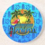 Hawaii-Sonnenuntergang-Blau Tiki Getränke Untersetzer