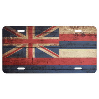 Hawaii-Staats-Flagge auf altem hölzernem Korn US Nummernschild