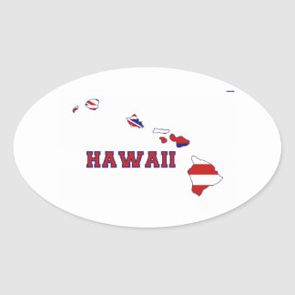 Hawaii-Staats-Flagge und Karte Ovaler Aufkleber