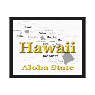 Hawaii-Staatsstolz-Karten-Silhouette Leinwanddruck