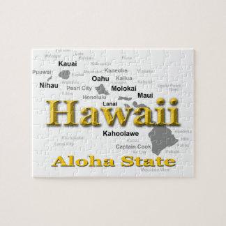 Hawaii-Staatsstolz-Karten-Silhouette Puzzle