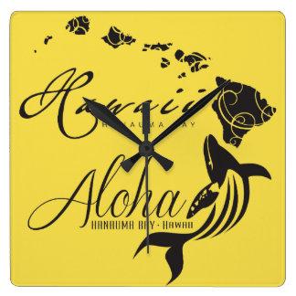 Hawaii-Wal Aloha Quadratische Wanduhr