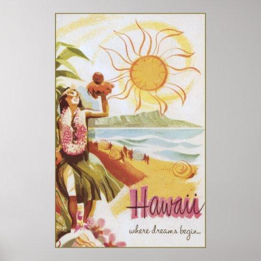 Hawaii - wo Träume anfangen Plakatdruck
