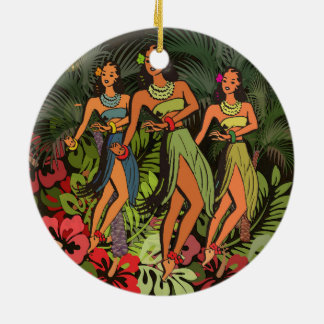 HawaiiAloha Palme Hula Kunst-Entwurf Keramik Ornament