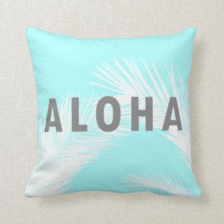 Hawaiianer-Aloha graue Typografie-Palmen blau Kissen