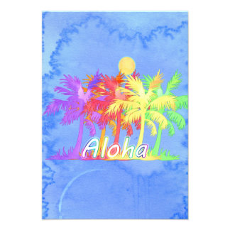Hawaiin Aloha Palme-Aquarelle Ankündigungskarten