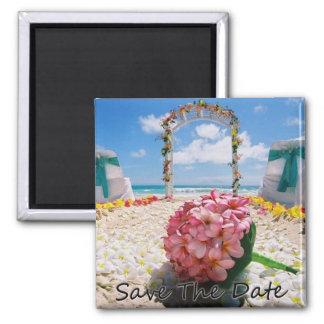 Hawaiisch Save the Date Wedding Magneten Quadratischer Magnet