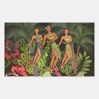 Hawaiische BlumenBlumen-Kunst-grafischer Rechteckiger Aufkleber