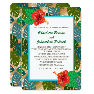 Hawaiische Dschungel-Laub-Hibiskus-Blumen-Hochzeit Karte