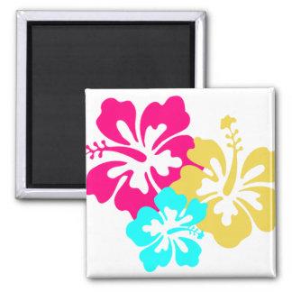 Hawaiische Hibiskus-Blumen Quadratischer Magnet