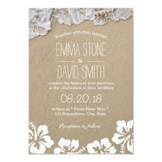 Hawaiische Hibiskus-Sommer-Strand-Hochzeit in 12,7 X 17,8 Cm Einladungskarte