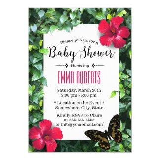 Hawaiische Hibiskus-u. Schmetterlings-tropische 12,7 X 17,8 Cm Einladungskarte