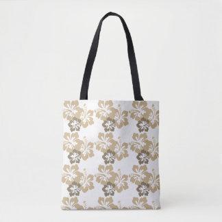 Hawaiische Hibiskustaupe-Taschen-Tasche Tasche