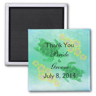 Hawaiische Honu Hochzeit danken Ihnen Quadratischer Magnet