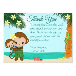 Hawaiische Hula Affe-Babyparty danken Ihnen BOY#01 11,4 X 15,9 Cm Einladungskarte