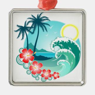 Hawaiische Insel 2 Quadratisches Silberfarbenes Ornament