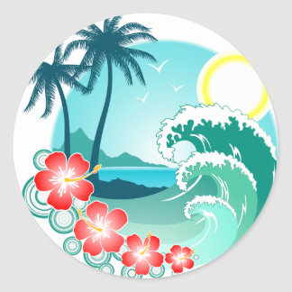 Hawaiische Insel 2 Runder Aufkleber