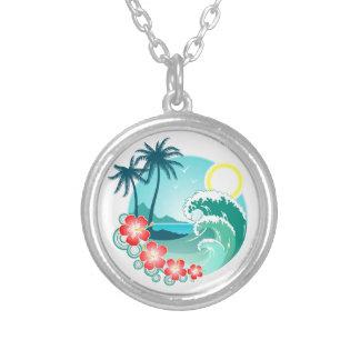 Hawaiische Insel 2 Versilberte Kette