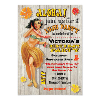 Hawaiische Luau Geburtstags-Party Einladungen